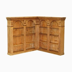 Solid English Pine Corner Bookcase, 1950s