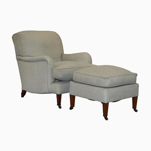 Fully Stamped Bridgewater Armchair & Footstool from Howard & Sons, Set of 2