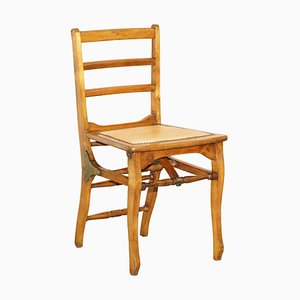 Solid Fruitwood Brass Fitting Military Campaign Folding Chair, 1890s