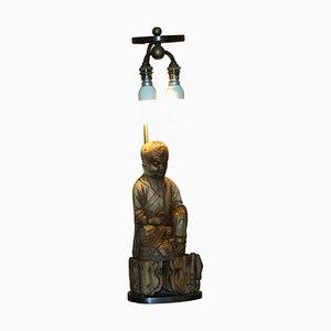 Lámpara de mesa china de madera de raíz tallada con estatua de Buda, 1780-1800