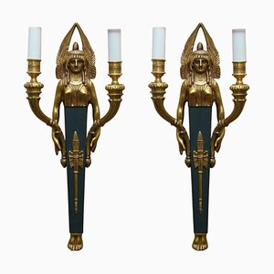 Empire Style Figural Two-Branch Wall Sconces in Gilt Bronze, Set of 2