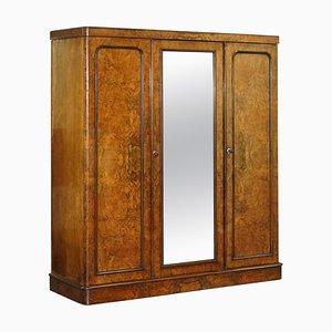 Mid-Victorian Triple Wardrobe in Glass & Burr Walnut from G Trollope & Sons