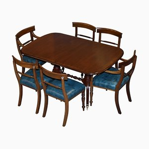 Burr Walnut Regency Extending Dining Table and Chairs, Set of 7