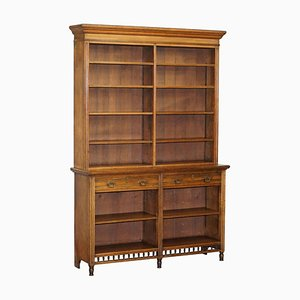 Victorian Oak Library Bookcase with Drawers & Serial Number from Maple & Co.