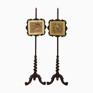 Victorian Hardwood Pole Screens with Barley Twist Column, Set of 2