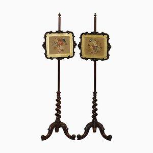 Viktorianische Stangenschirme aus Hartholz mit Säule aus Gerste, 2er Set