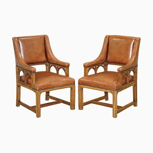 Victorian Gothic Revival Pugin Style Throne Armchairs, Set of 2