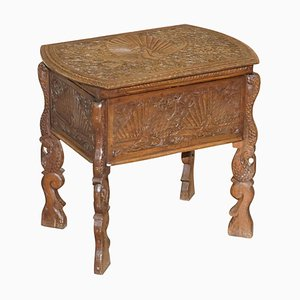 Burmese Hand-Carved Peacock Sewing Table or Cupboard with Open Top, 1880s