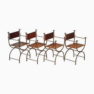 Italian Iron & Brown Leather Savonarola Armchairs, Set of 4