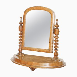 Georgian Cheval Table Top Dressing Table with Walnut Plate Mirror