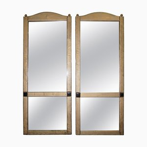 Leather Clad Full Length Tall Floor Standing Mirrors, Set of 2