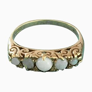 5 Opal and 9 Carat Gold Ring from Asprey London, 1889