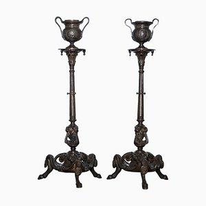 Kerzenständer aus massiver Bronze von August Maximilien Delafontaine, 19. Jh., 2er Set