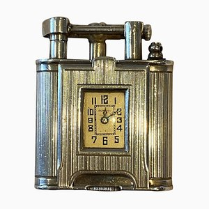 Sterling Silver Timepiece Lighter by Alfred Dunhill, 1920s