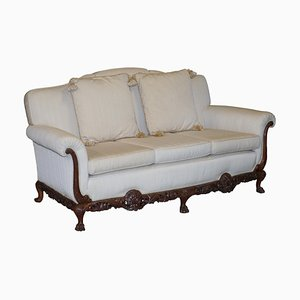 Ornately Carved Walnut 3-Seater Sofa with Lion's Paw Feet