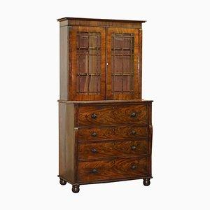 Viktorianischer Schreibtischschrank aus geflammtem Hartholz