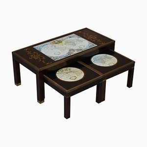 Nest of Tables with World Maps, Set of 3