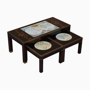 Tables Gigognes avec Cartes du Monde, Set de 3