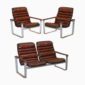 Brown Leather and Chrome Sofa Suite by Aarnio Pulkka Ilmari Lapland, 1960s, Set of 3