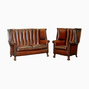 Huge Victorian Brown Leather Barrel Back Suite Sofa Set, 1860s, Set of 2