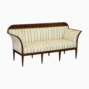 19th Century Rosewood and Satinwood Sofa in Floral Upholstery from Howard & Sons