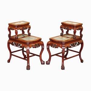 Chinese Hand-Carved Hardwood & Marble Side Tables with Claw and Ball Feet, Set of 2