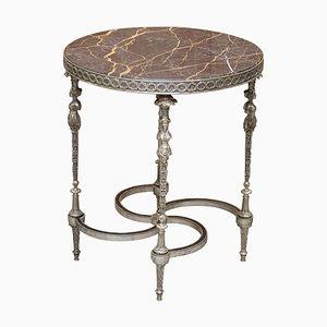 Versilberter Skulpturaler Französischer Empire Tisch mit Marmorplatte