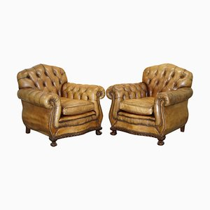Brown Leather Chesterfield Club Armchairs with Claw & Ball Feet, Set of 2