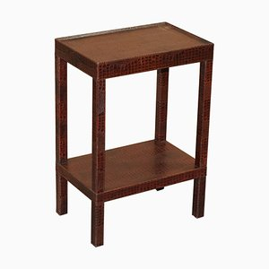 Brown Leather Side Table