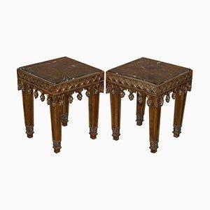 Beistelltische aus vergoldetem Holz & Marmor, 2er Set
