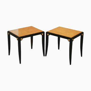 Birds Eye Maple Gold Leaf Painted Tops Side Tables, Set of 2