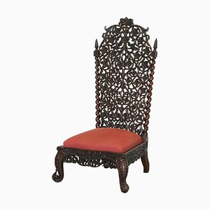 Burmese Floral Solid Hand-Carved Rosewood Chair with High Back, 1880s