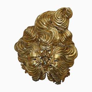 Große goldene vergoldete Pappmaché Wandmaske der Windgötter