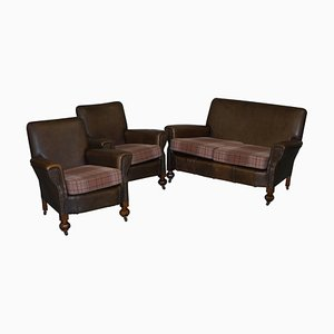 Edwardian Walnut Brown Leather Three-Piece Sofa, Armchairs Suite Tartan Cushions, Set of 3
