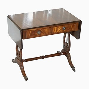 Large Side Table with Extendable Flamed Hardwood Top
