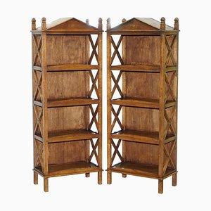 Steeple Top Bücherregale aus Massivholz, 2er Set