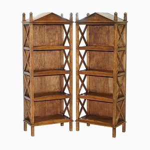 Steeple Top Solid Wood Bookcases, Set of 2