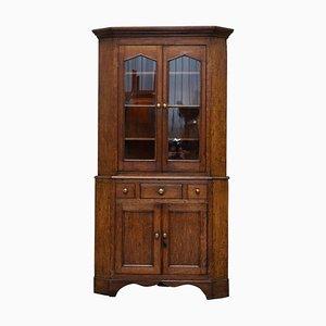 Victorian Honey Oak Corner Cupboard with Brass Handles, 1840s