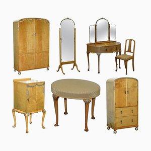 Victorian Satinwood Bedroom Suite from Hampton & Sons, Set of 7