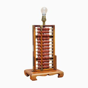 Mid-Century Chinese Rosewood Abacus Lamp