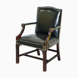 Black Leather Gainsborough Carver Armchair in the Style of Thomas Chippendale