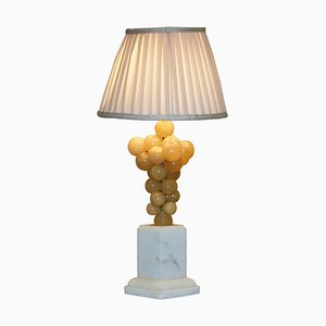 Carrara Marble Base Lamp with Alabaster Grapes by Freddy Rensonnet