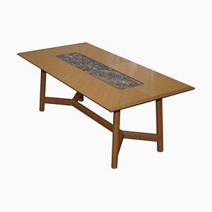 Sycamore Wood and Marble Newlyn Hayrake Dining Table from David Linley