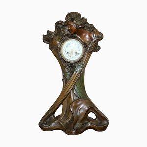 Art Nouveau Cold Painted Bronze Clock by Seth Thomas, 1889