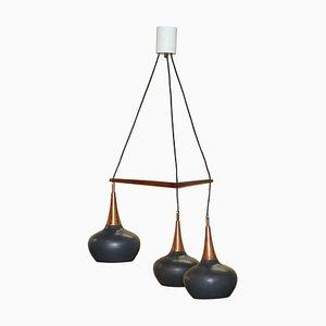 Lámpara de araña con tres luces de Uno & Osten Kristiansson para Luxus, años 60