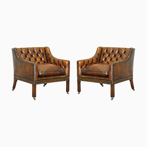 Viceroy's Brown Leather Chesterfield Armchairs in the Style of Lutyens, Set of 2
