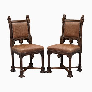 19th Century French Gothic Brown Leather Hand-Carved Armchairs, Set of 2
