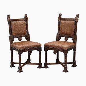 Französische gotische Armlehnstühle aus braunem Leder, 19. Jh., 2er Set