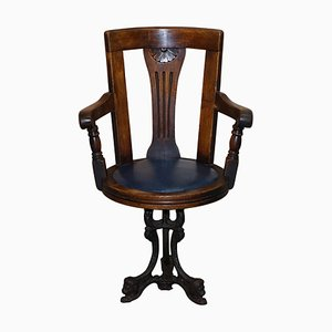 Victorian Cast Iron & Blue Leather Captain's Swivel Chair with Lion Base