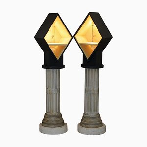 Tall Display Cabinets on Corinthian Pillars with Built-In Lights, Set of 2